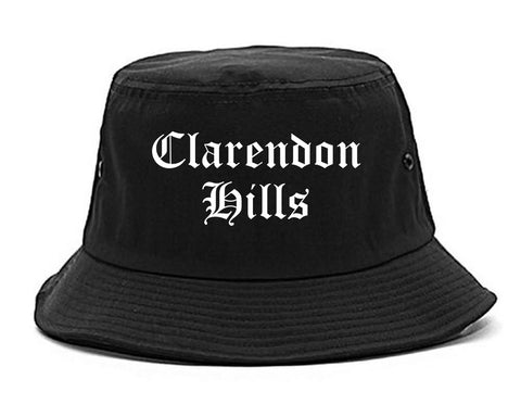 Clarendon Hills Illinois IL Old English Mens Bucket Hat Black