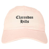 Clarendon Hills Illinois IL Old English Mens Dad Hat Baseball Cap Pink