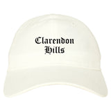Clarendon Hills Illinois IL Old English Mens Dad Hat Baseball Cap White