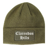 Clarendon Hills Illinois IL Old English Mens Knit Beanie Hat Cap Olive Green