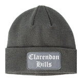 Clarendon Hills Illinois IL Old English Mens Knit Beanie Hat Cap Grey