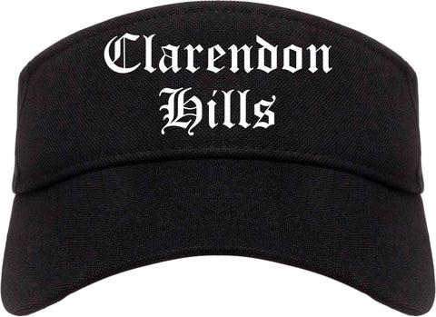 Clarendon Hills Illinois IL Old English Mens Visor Cap Hat Black
