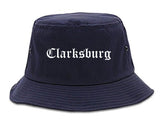 Clarksburg West Virginia WV Old English Mens Bucket Hat Navy Blue