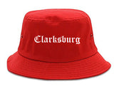 Clarksburg West Virginia WV Old English Mens Bucket Hat Red