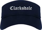 Clarksdale Mississippi MS Old English Mens Visor Cap Hat Navy Blue