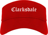 Clarksdale Mississippi MS Old English Mens Visor Cap Hat Red