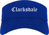 Clarksdale Mississippi MS Old English Mens Visor Cap Hat Royal Blue