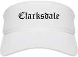 Clarksdale Mississippi MS Old English Mens Visor Cap Hat White