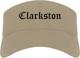 Clarkston Georgia GA Old English Mens Visor Cap Hat Khaki