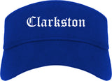 Clarkston Georgia GA Old English Mens Visor Cap Hat Royal Blue