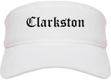 Clarkston Georgia GA Old English Mens Visor Cap Hat White
