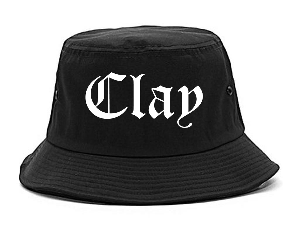 Clay Alabama AL Old English Mens Bucket Hat Black