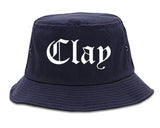 Clay Alabama AL Old English Mens Bucket Hat Navy Blue