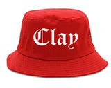 Clay Alabama AL Old English Mens Bucket Hat Red