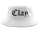 Clay Alabama AL Old English Mens Bucket Hat White
