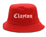 Clayton California CA Old English Mens Bucket Hat Red