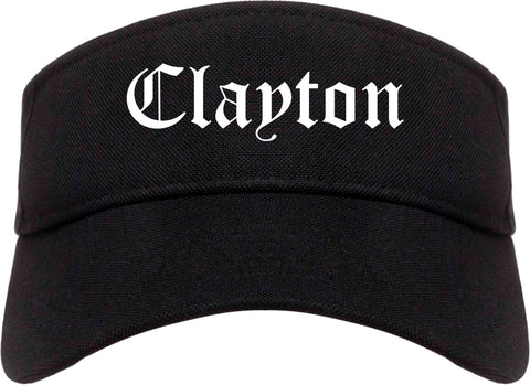 Clayton California CA Old English Mens Visor Cap Hat Black