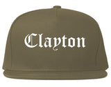 Clayton North Carolina NC Old English Mens Snapback Hat Grey