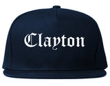 Clayton North Carolina NC Old English Mens Snapback Hat Navy Blue