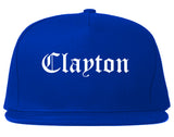 Clayton North Carolina NC Old English Mens Snapback Hat Royal Blue