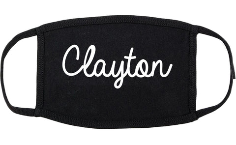 Clayton North Carolina NC Script Cotton Face Mask Black
