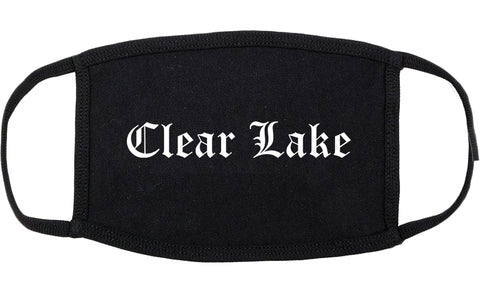 Clear Lake Iowa IA Old English Cotton Face Mask Black