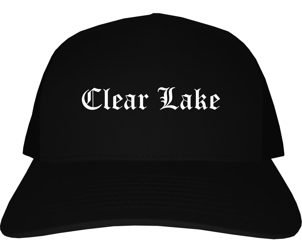 Clear Lake Iowa IA Old English Mens Trucker Hat Cap Black
