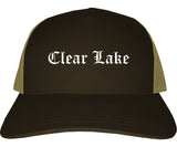 Clear Lake Iowa IA Old English Mens Trucker Hat Cap Brown