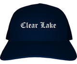 Clear Lake Iowa IA Old English Mens Trucker Hat Cap Navy Blue