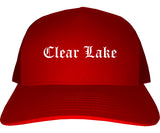 Clear Lake Iowa IA Old English Mens Trucker Hat Cap Red