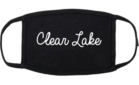 Clear Lake Iowa IA Script Cotton Face Mask Black
