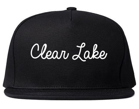 Clear Lake Iowa IA Script Mens Snapback Hat Black