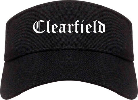 Clearfield Pennsylvania PA Old English Mens Visor Cap Hat Black