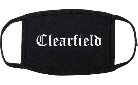 Clearfield Utah UT Old English Cotton Face Mask Black