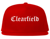 Clearfield Utah UT Old English Mens Snapback Hat Red