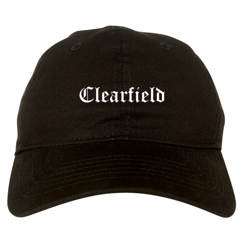 Clearfield Utah UT Old English Mens Dad Hat Baseball Cap Black