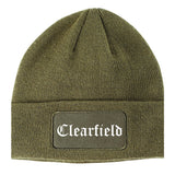 Clearfield Utah UT Old English Mens Knit Beanie Hat Cap Olive Green