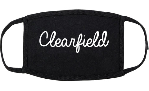 Clearfield Utah UT Script Cotton Face Mask Black