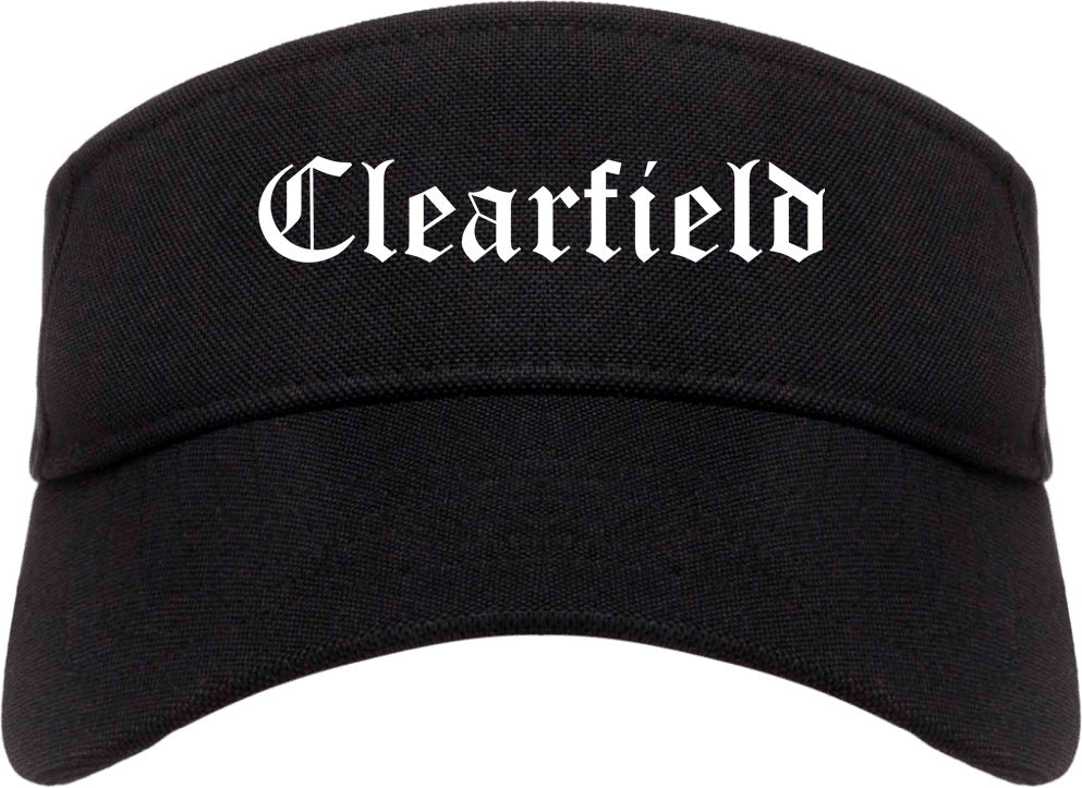 Clearfield Utah UT Old English Mens Visor Cap Hat Black