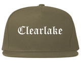 Clearlake California CA Old English Mens Snapback Hat Grey
