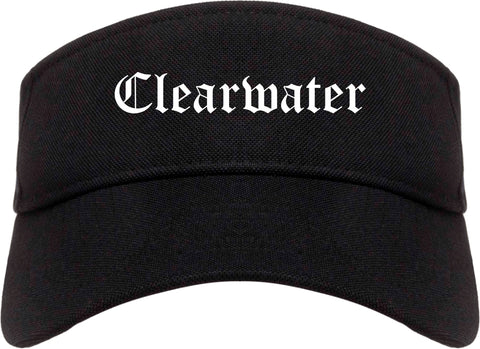 Clearwater Florida FL Old English Mens Visor Cap Hat Black