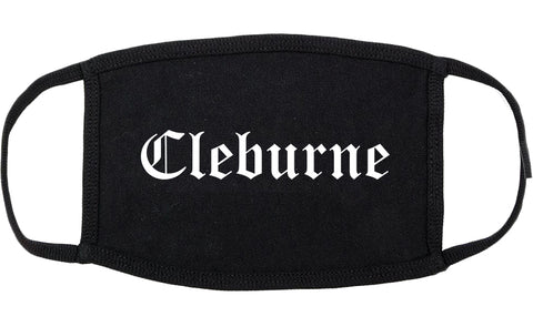 Cleburne Texas TX Old English Cotton Face Mask Black