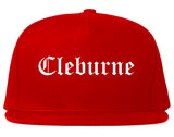 Cleburne Texas TX Old English Mens Snapback Hat Red
