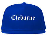 Cleburne Texas TX Old English Mens Snapback Hat Royal Blue