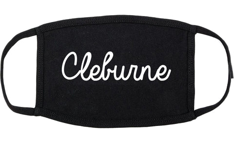 Cleburne Texas TX Script Cotton Face Mask Black