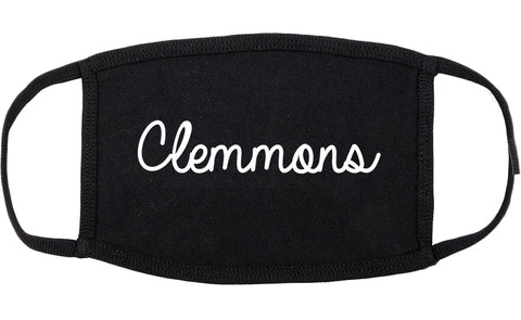 Clemmons North Carolina NC Script Cotton Face Mask Black