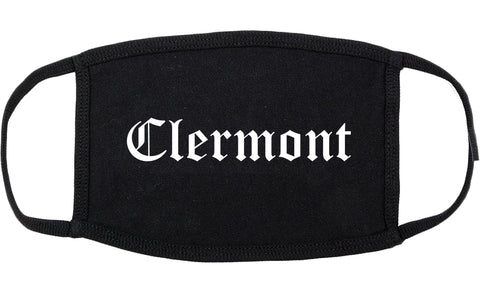 Clermont Florida FL Old English Cotton Face Mask Black