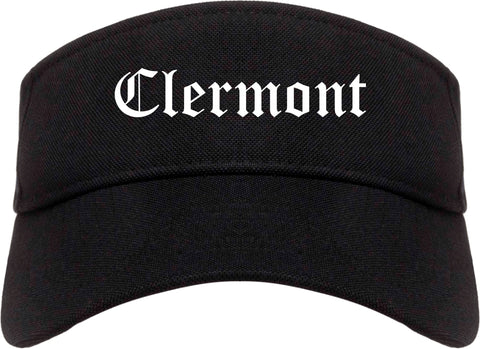 Clermont Florida FL Old English Mens Visor Cap Hat Black