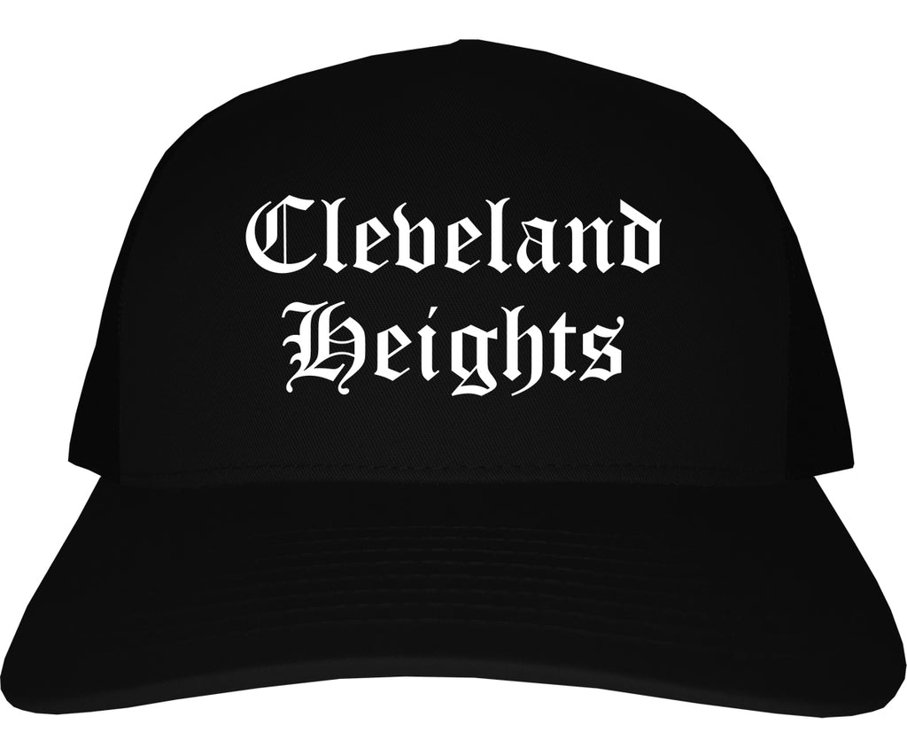 Cleveland Heights Ohio OH Old English Mens Trucker Hat Cap Black