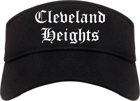 Cleveland Heights Ohio OH Old English Mens Visor Cap Hat Black